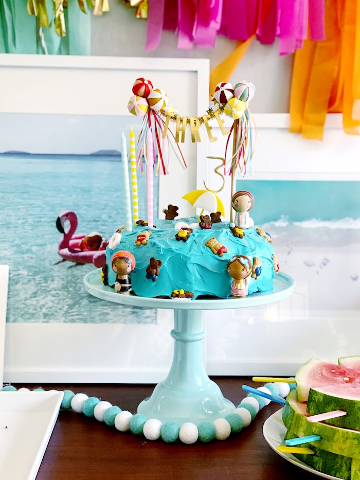 Beach Cake from a Palm Springs Beach Ball Birthday Bash on Kara's Party Ideas | KarasPartyIdeas.com (23)