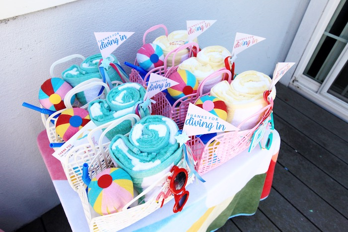 Beach Basket Favors from a Palm Springs Beach Ball Birthday Bash on Kara's Party Ideas | KarasPartyIdeas.com (22)
