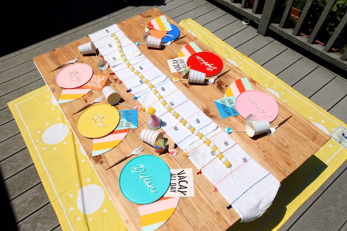 Beach-inspired Guest Table from a Palm Springs Beach Ball Birthday Bash on Kara's Party Ideas | KarasPartyIdeas.com (20)