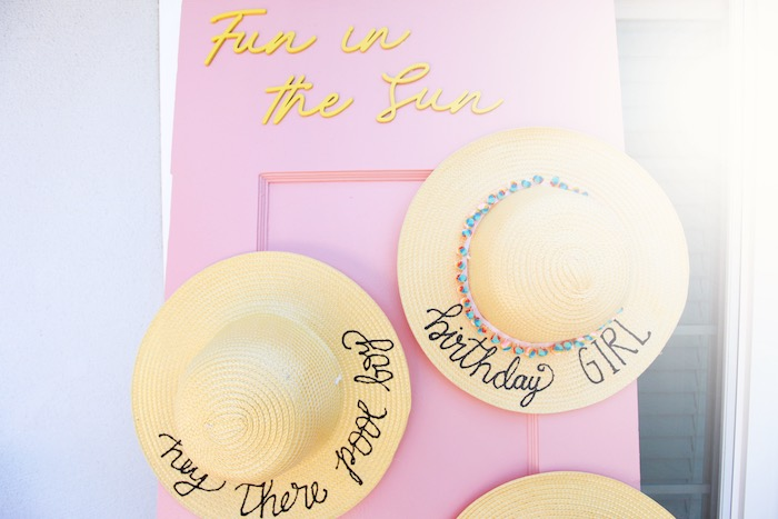Sun Hats from a Palm Springs Beach Ball Birthday Bash on Kara's Party Ideas | KarasPartyIdeas.com (19)