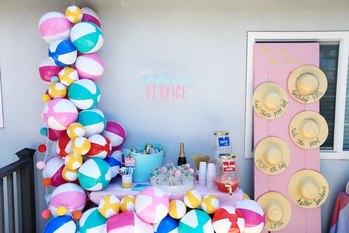 Beach Ball Cabana Beverage Bar from a Palm Springs Beach Ball Birthday Bash on Kara's Party Ideas | KarasPartyIdeas.com (18)