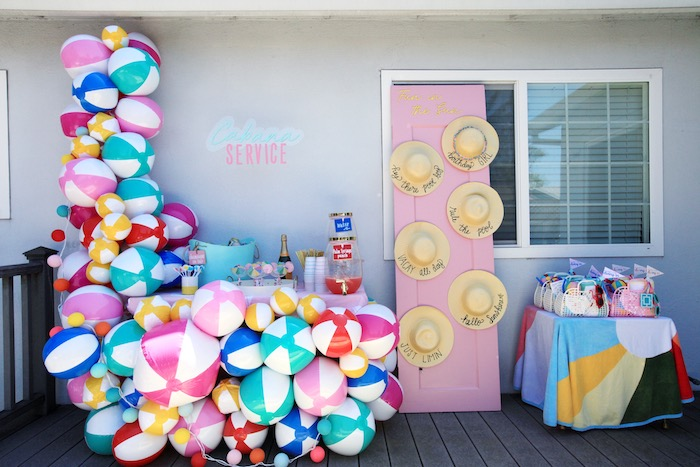 Beach Ball Cabana Beverage Bar from a Palm Springs Beach Ball Birthday Bash on Kara's Party Ideas | KarasPartyIdeas.com (17)