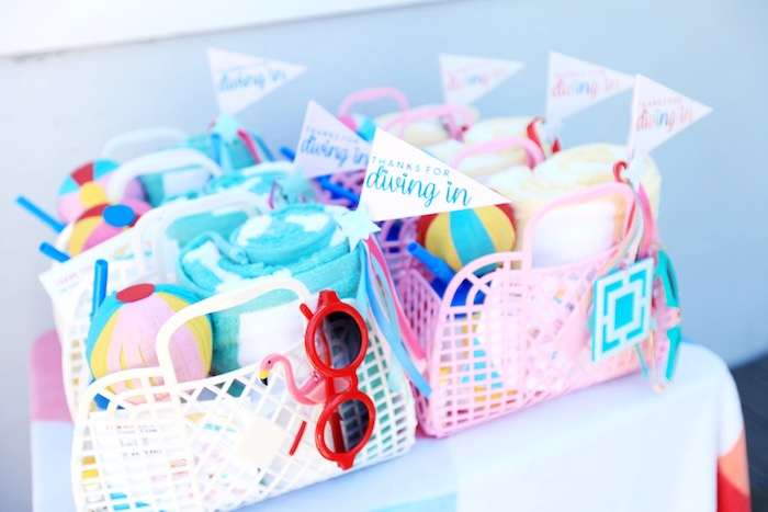 Beach Basket Favors from a Palm Springs Beach Ball Birthday Bash on Kara's Party Ideas | KarasPartyIdeas.com (15)