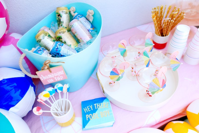 Beverages from a Palm Springs Beach Ball Birthday Bash on Kara's Party Ideas | KarasPartyIdeas.com (14)