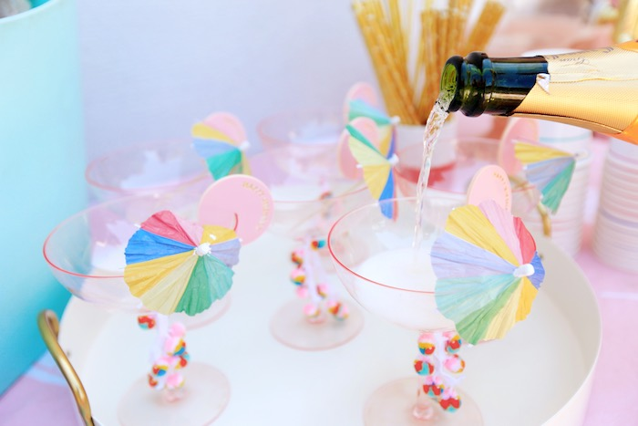 Umbrella-topped Cups from a Palm Springs Beach Ball Birthday Bash on Kara's Party Ideas | KarasPartyIdeas.com (12)