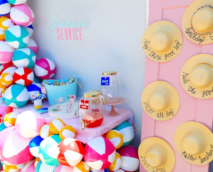 Beach Ball Beverage Bar from a Palm Springs Beach Ball Birthday Bash on Kara's Party Ideas | KarasPartyIdeas.com (10)
