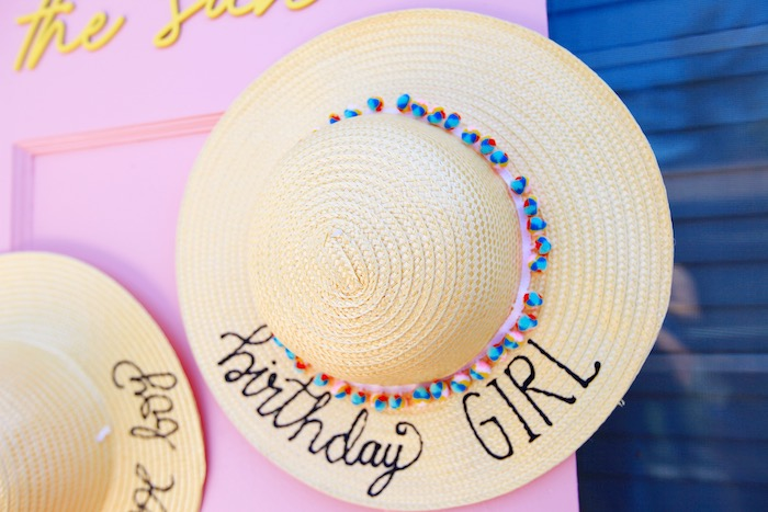 Custom Sun Hat from a Palm Springs Beach Ball Birthday Bash on Kara's Party Ideas | KarasPartyIdeas.com (9)