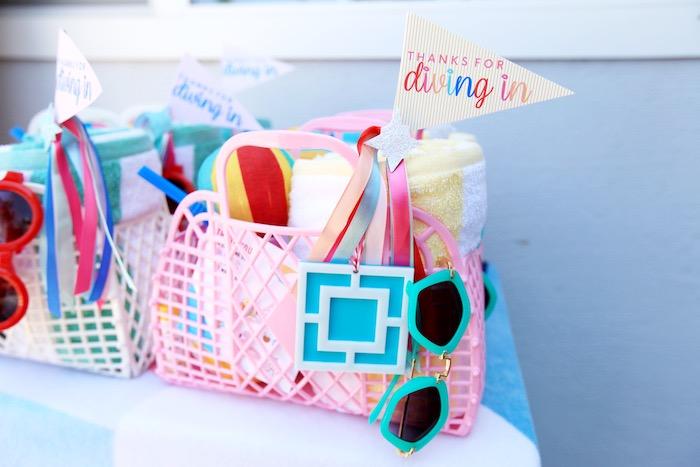 Beach Basket Favors from a Palm Springs Beach Ball Birthday Bash on Kara's Party Ideas | KarasPartyIdeas.com (8)