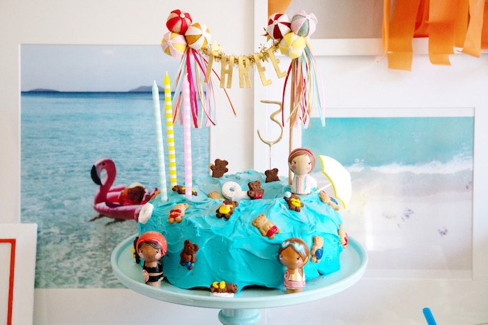 Beach Themed Cake from a Palm Springs Beach Ball Birthday Bash on Kara's Party Ideas | KarasPartyIdeas.com (39)