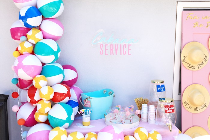 Beach Ball Cabana from a Palm Springs Beach Ball Birthday Bash on Kara's Party Ideas | KarasPartyIdeas.com (38)