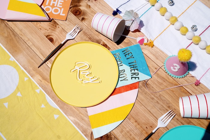 Beach-inspired Table Setting from a Palm Springs Beach Ball Birthday Bash on Kara's Party Ideas | KarasPartyIdeas.com (37)