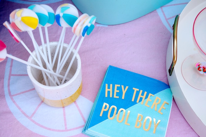 Beach Ball Stir Sticks + Pool Boy Napkins from a Palm Springs Beach Ball Birthday Bash on Kara's Party Ideas | KarasPartyIdeas.com (34)