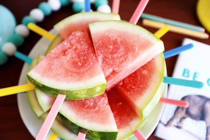 Watermelon Slices on a Stick from a Palm Springs Beach Ball Birthday Bash on Kara's Party Ideas | KarasPartyIdeas.com (33)