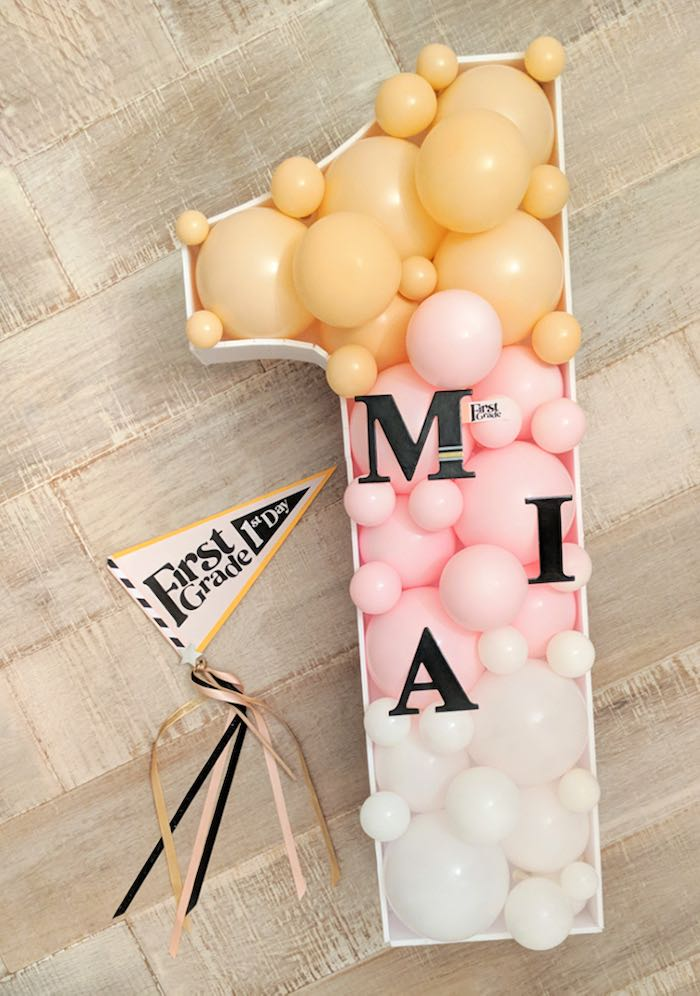 """Personalized """"1"""" Balloon Mosaic from a Pastel Back to School Party on Kara's Party Ideas 