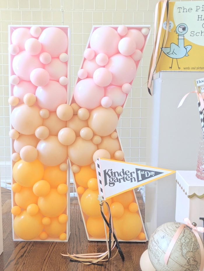 Balloon Mosaic from a Pastel Back to School Party on Kara's Party Ideas | KarasPartyIdeas.com (19)