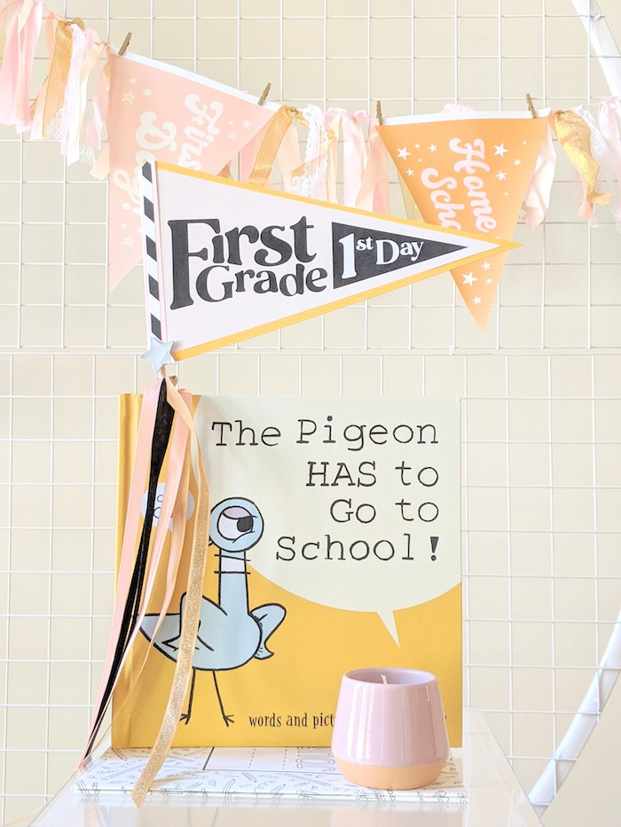 Pennant Flag + Book Decor from a Pastel Back to School Party on Kara's Party Ideas | KarasPartyIdeas.com (17)