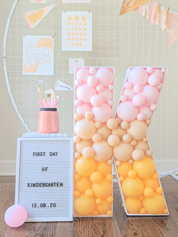 Balloon Mosaic from a Pastel Back to School Party on Kara's Party Ideas | KarasPartyIdeas.com (14)