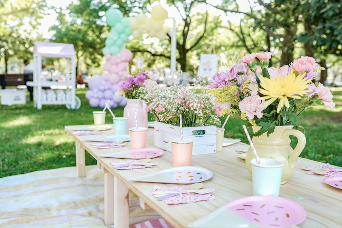Ice Cream Themed Party Table from a Pastel Ice Cream Picnic Party on Kara's Party Ideas | KarasPartyIdeas.com (20)