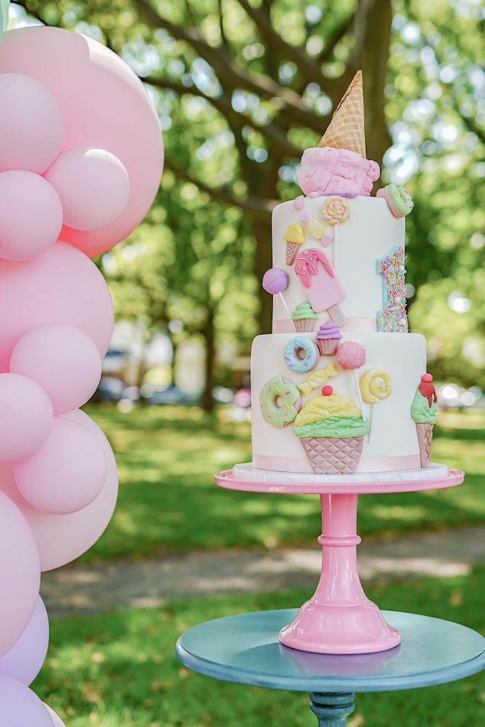 Ice Cream Themed Birthday Cake from a Pastel Ice Cream Picnic Party on Kara's Party Ideas | KarasPartyIdeas.com (19)