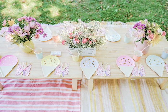Ice Cream Themed Party Table from a Pastel Ice Cream Picnic Party on Kara's Party Ideas | KarasPartyIdeas.com (18)