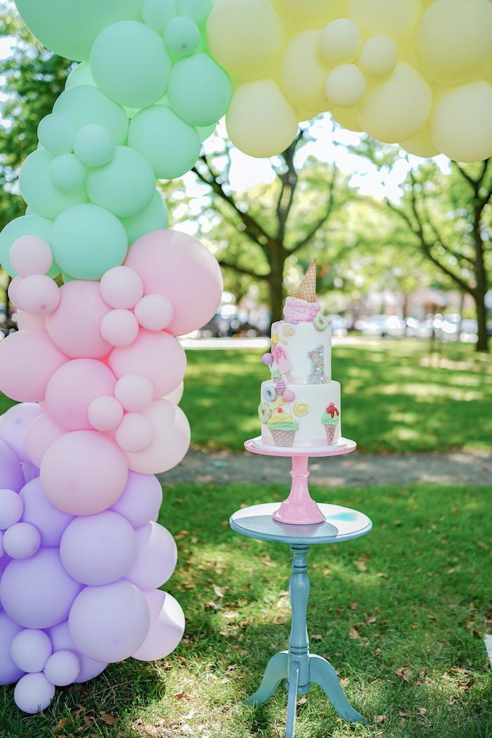 Ice Cream Themed Birthday Cake from a Pastel Ice Cream Picnic Party on Kara's Party Ideas | KarasPartyIdeas.com (16)