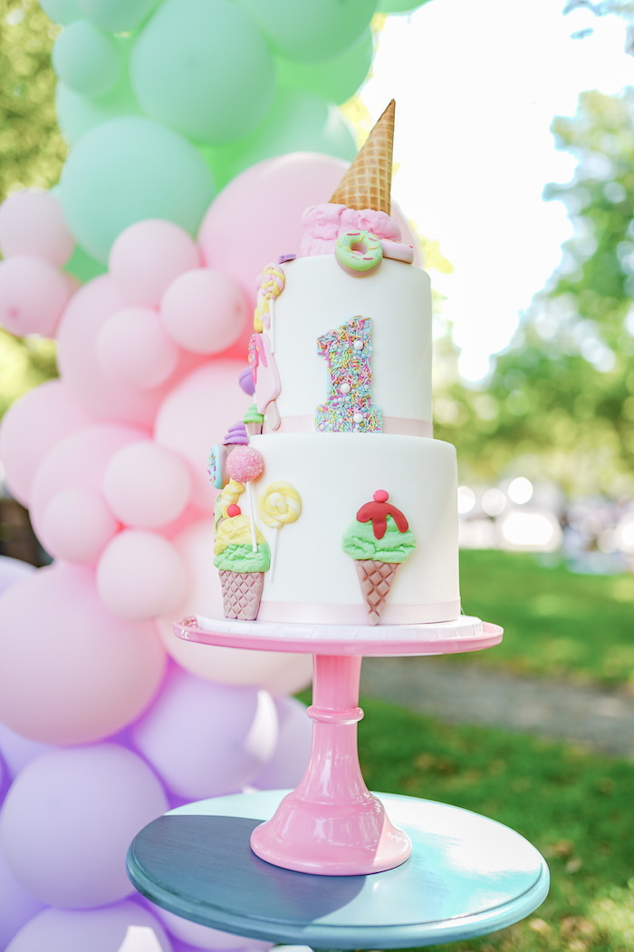 Ice Cream Themed Birthday Cake from a Pastel Ice Cream Picnic Party on Kara's Party Ideas | KarasPartyIdeas.com (14)