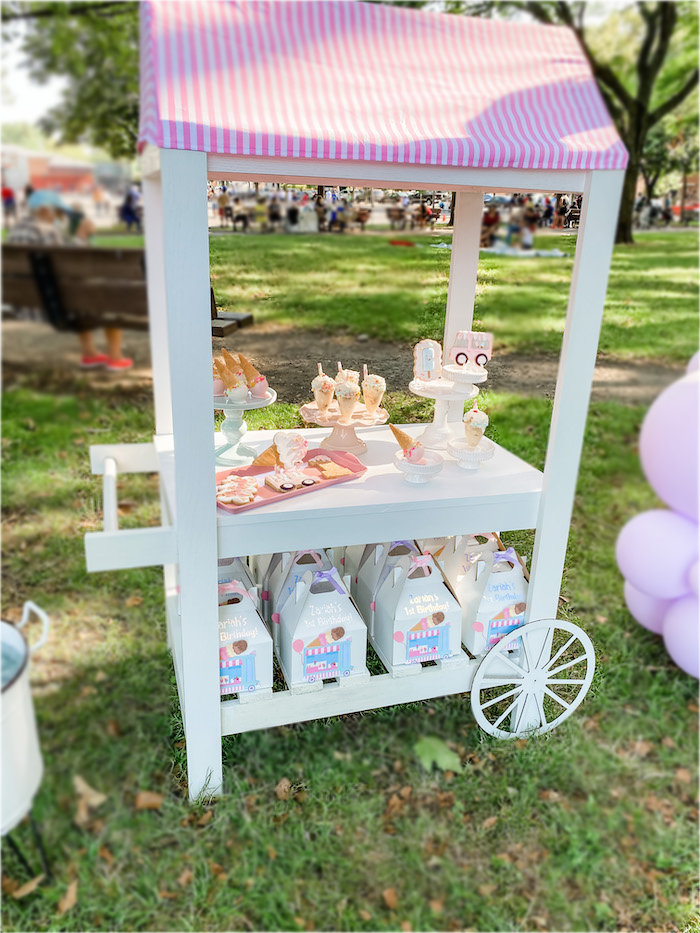 Ice Cream Themed Dessert Cart from a Pastel Ice Cream Picnic Party on Kara's Party Ideas | KarasPartyIdeas.com (9)
