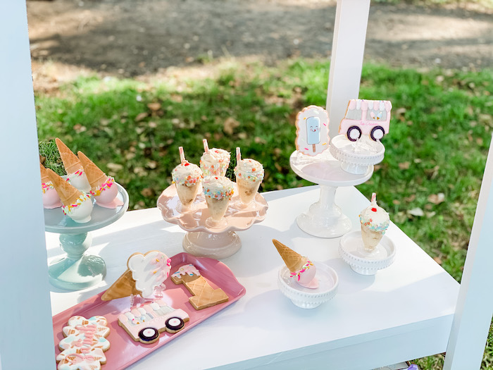 Ice Cream Themed Dessert Stand from a Pastel Ice Cream Picnic Party on Kara's Party Ideas | KarasPartyIdeas.com (6)