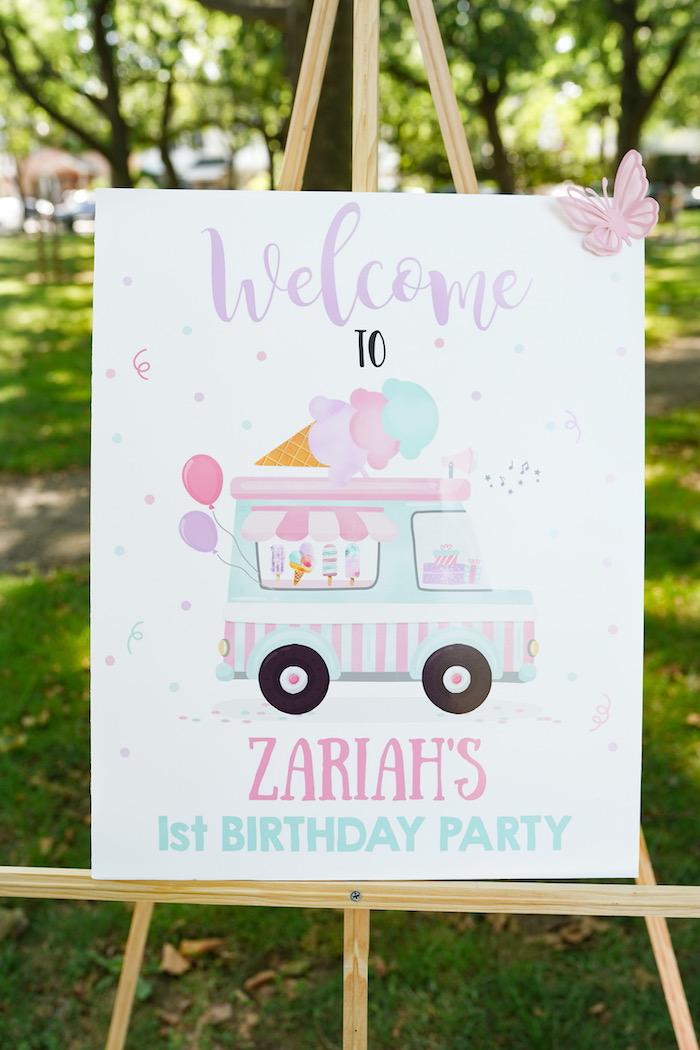 Ice Cream Truck Welcome Sign from a Pastel Ice Cream Picnic Party on Kara's Party Ideas | KarasPartyIdeas.com (28)