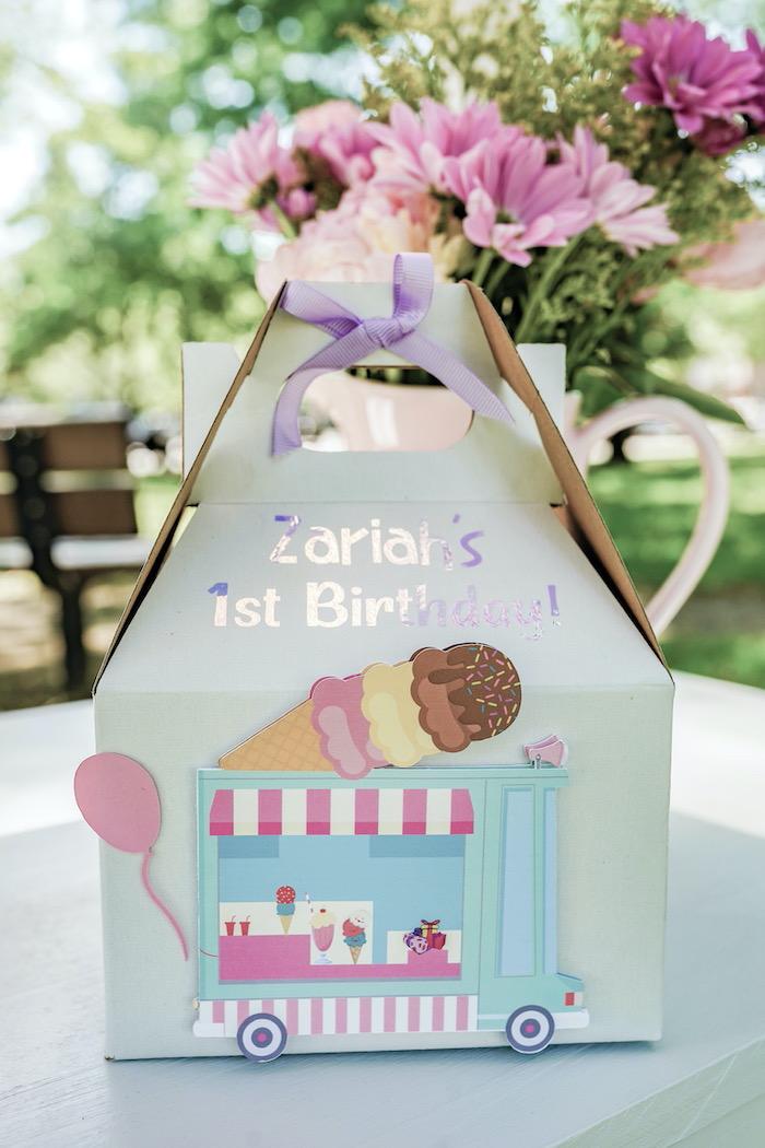 Ice Cream Themed Gable Favor Box from a Pastel Ice Cream Picnic Party on Kara's Party Ideas | KarasPartyIdeas.com (26)