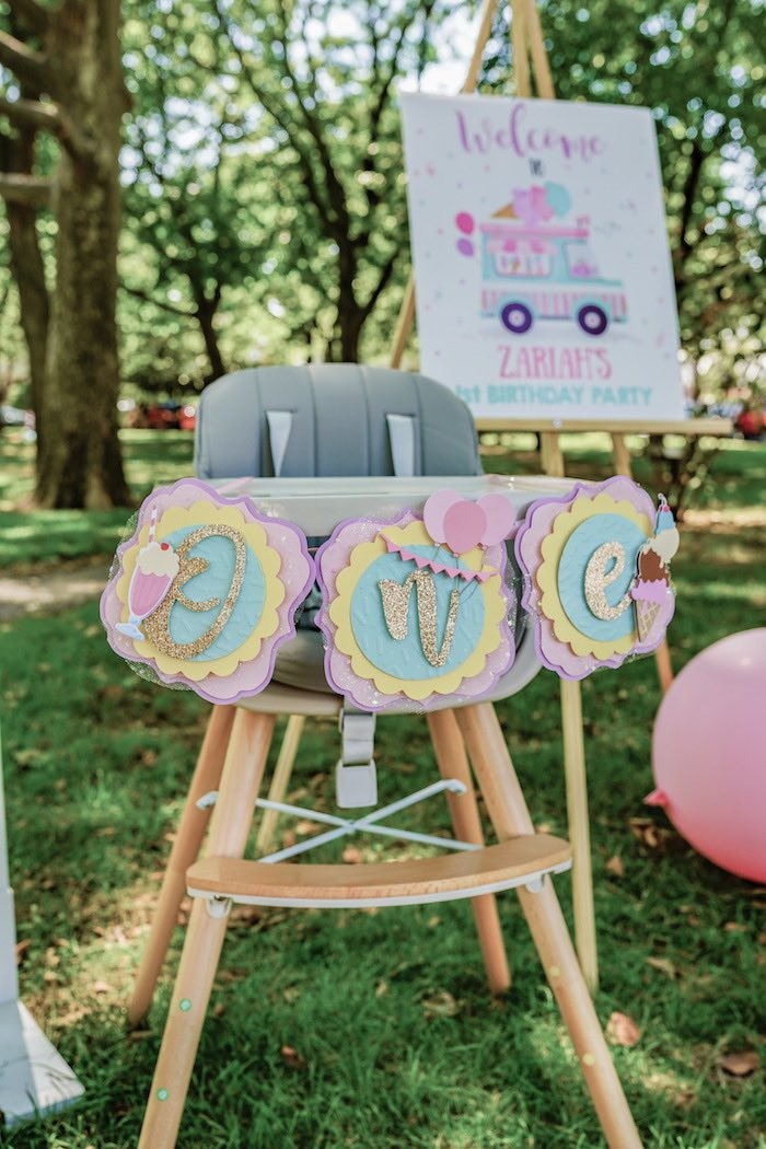 Ice Cream-inspired ONE Highchair Banner from a Pastel Ice Cream Picnic Party on Kara's Party Ideas | KarasPartyIdeas.com (25)