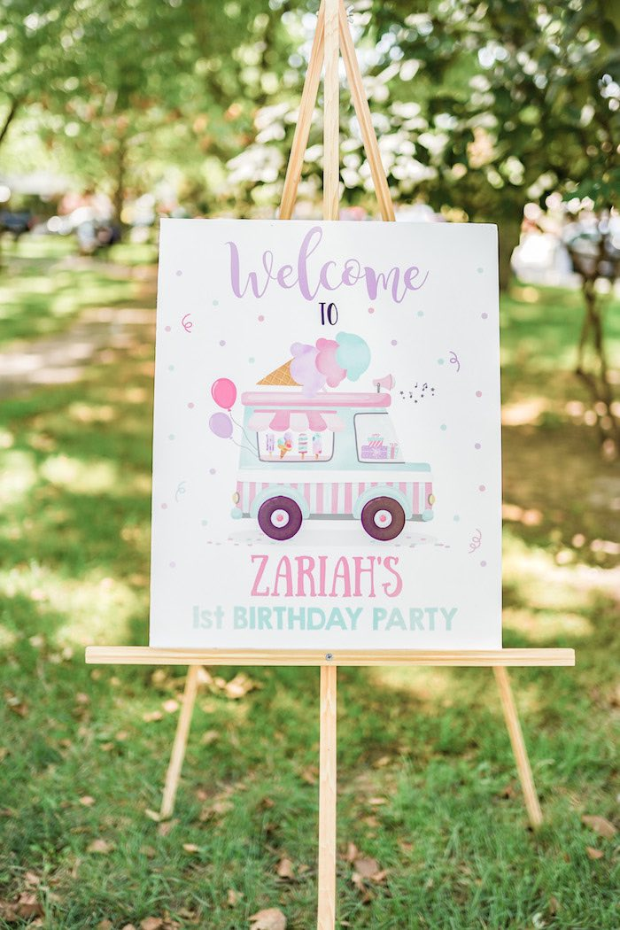 Ice Cream Truck Welcome Sign from a Pastel Ice Cream Picnic Party on Kara's Party Ideas | KarasPartyIdeas.com (24)
