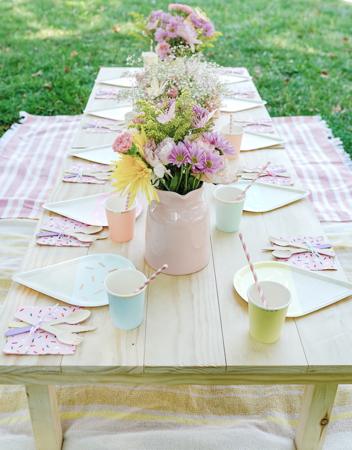 Ice Cream Themed Party Table from a Pastel Ice Cream Picnic Party on Kara's Party Ideas | KarasPartyIdeas.com (23)