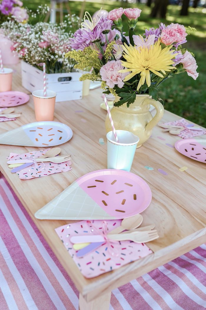 Ice Cream Themed Table Setting from a Pastel Ice Cream Picnic Party on Kara's Party Ideas | KarasPartyIdeas.com (22)