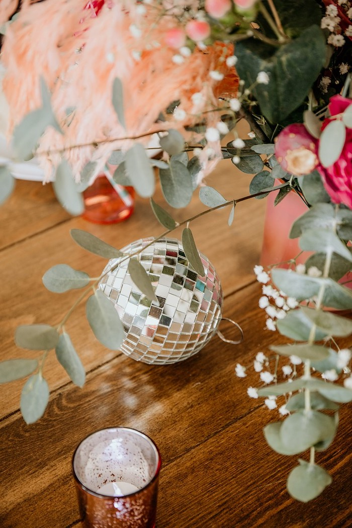 Mini Disco Ball + Table Decor from a Rainbow First Birthday Party on Kara's Party Ideas | KarasPartyIdeas.com (36)