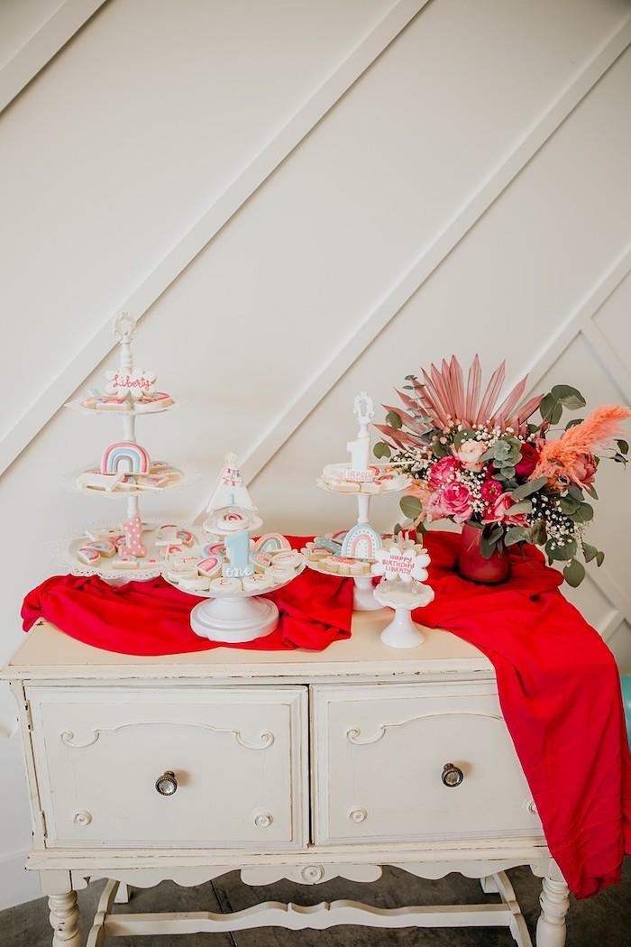 Dessert Table from a Rainbow First Birthday Party on Kara's Party Ideas | KarasPartyIdeas.com (34)