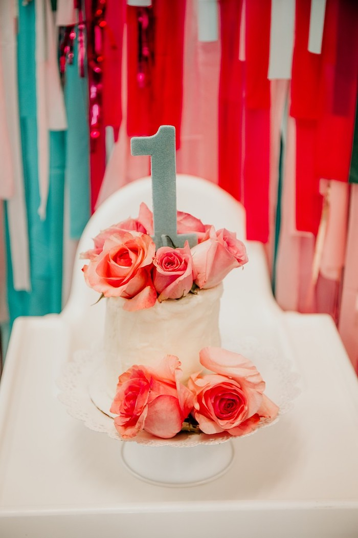 Rose Smash Cake from a Rainbow First Birthday Party on Kara's Party Ideas | KarasPartyIdeas.com (33)