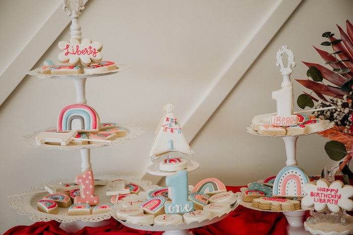 Cookie Platters + Dessert Table from a Rainbow First Birthday Party on Kara's Party Ideas | KarasPartyIdeas.com (46)