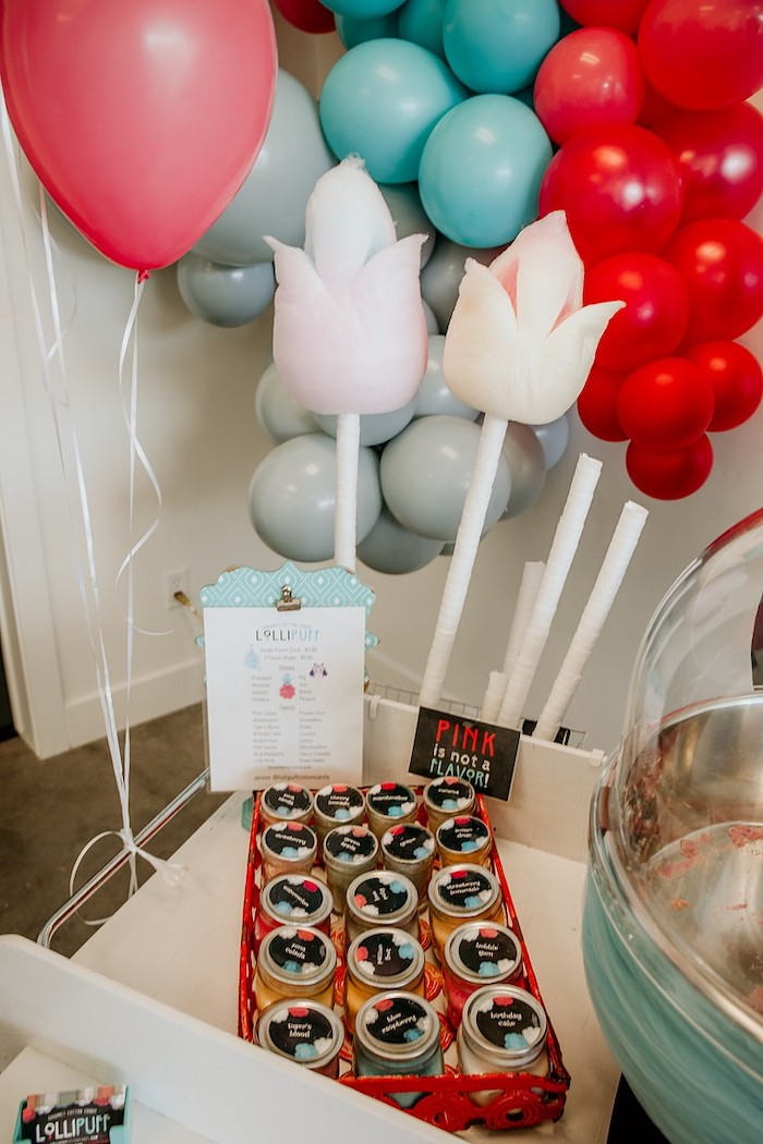 Cotton Candy Cart Detail from a Rainbow First Birthday Party on Kara's Party Ideas | KarasPartyIdeas.com (26)