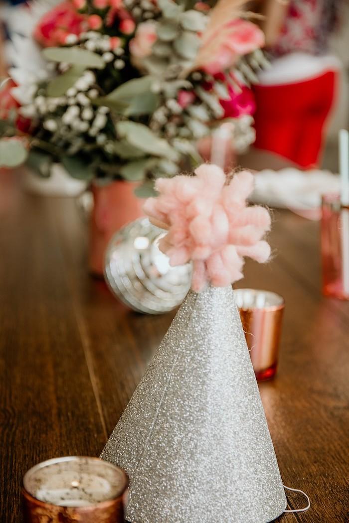 Glitter Pom Hat from a Rainbow First Birthday Party on Kara's Party Ideas | KarasPartyIdeas.com (25)