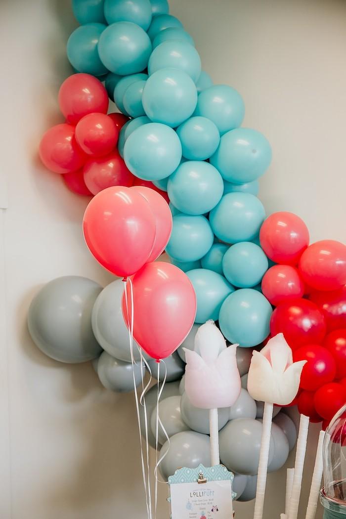 Balloon Install from a Rainbow First Birthday Party on Kara's Party Ideas | KarasPartyIdeas.com (15)