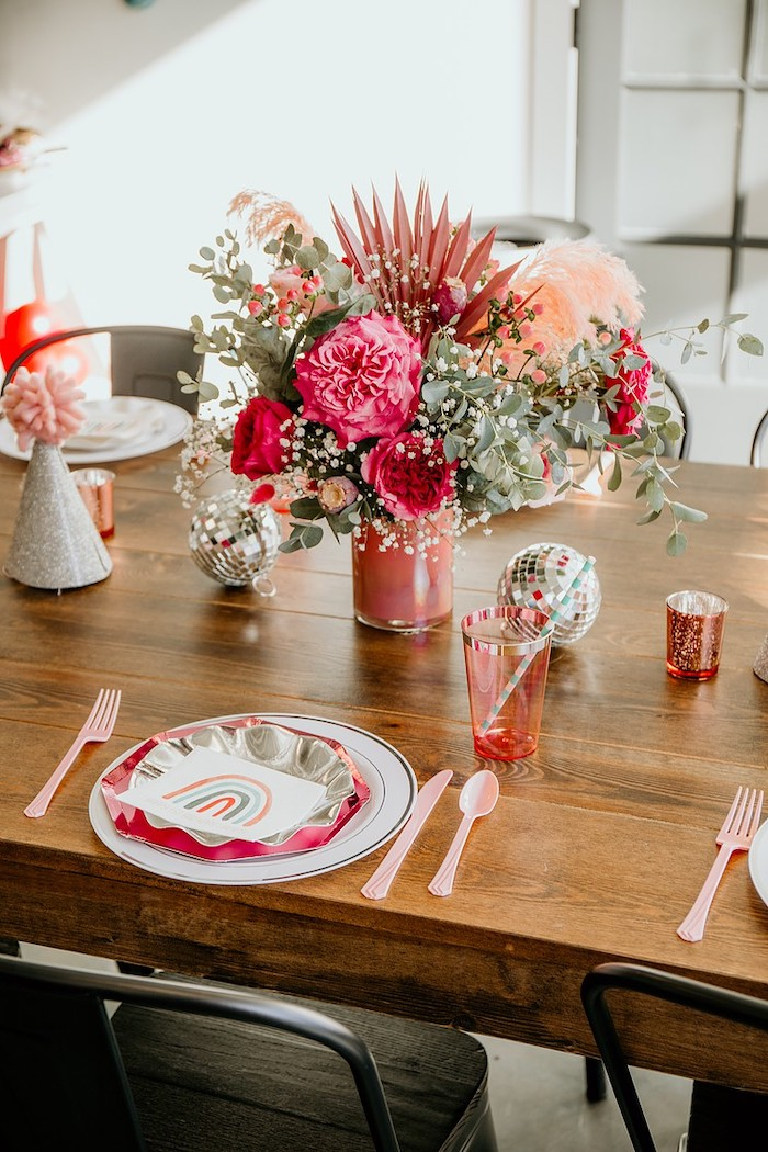Table Setting + Guest Table from a Rainbow First Birthday Party on Kara's Party Ideas | KarasPartyIdeas.com (12)