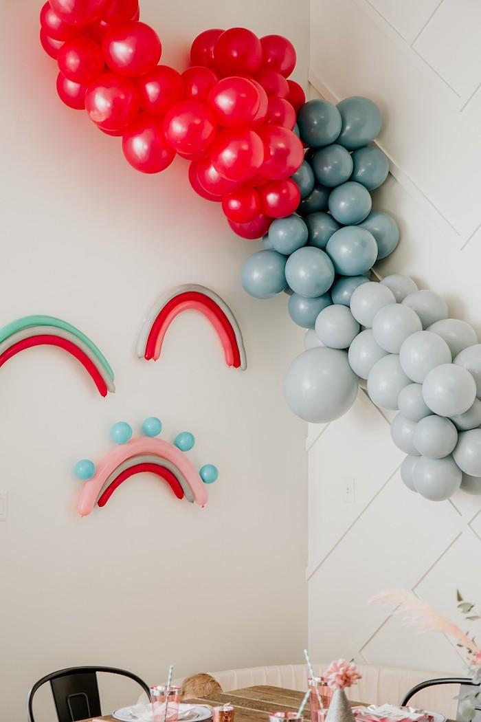 Rainbow Balloon Installs from a Rainbow First Birthday Party on Kara's Party Ideas | KarasPartyIdeas.com (9)