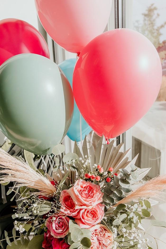 Balloon & Floral Centerpiece from a Rainbow First Birthday Party on Kara's Party Ideas | KarasPartyIdeas.com (41)