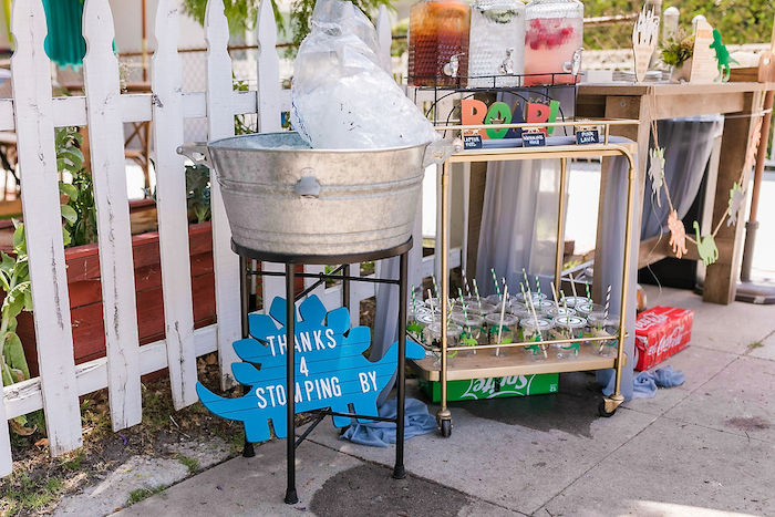 ROAR Beverage Cart from a Rawrsome Dinosaur Drive-By Birthday Parade on Kara's Party Ideas | KarasPartyIdeas.com (32)
