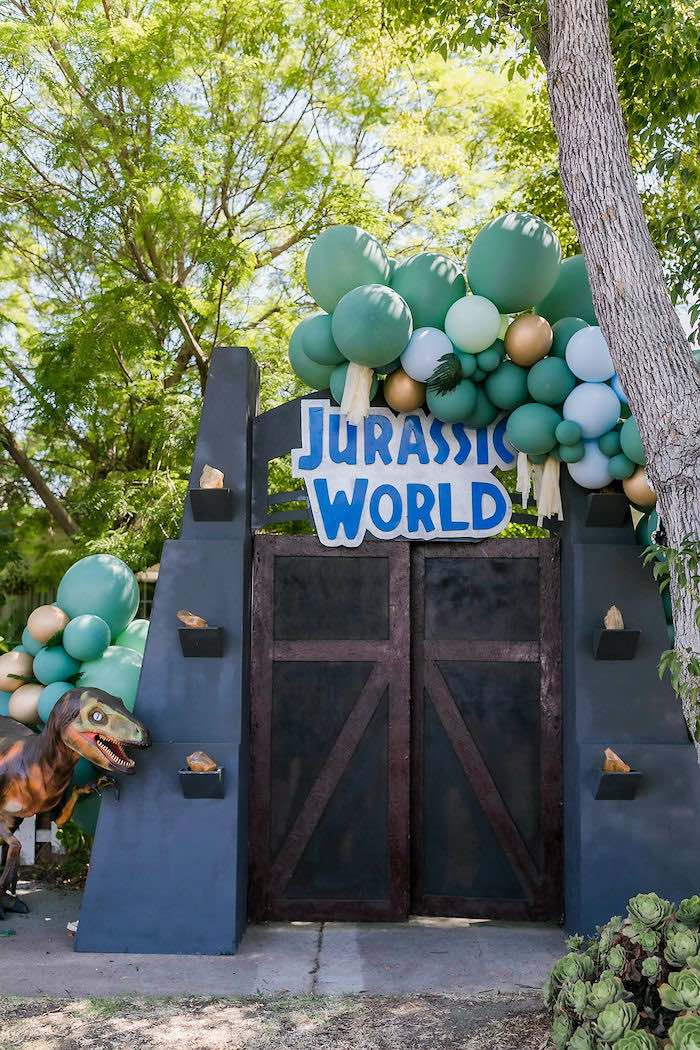 Jurassic World Gate Backdrop from a Rawrsome Dinosaur Drive-By Birthday Parade on Kara's Party Ideas | KarasPartyIdeas.com (28)