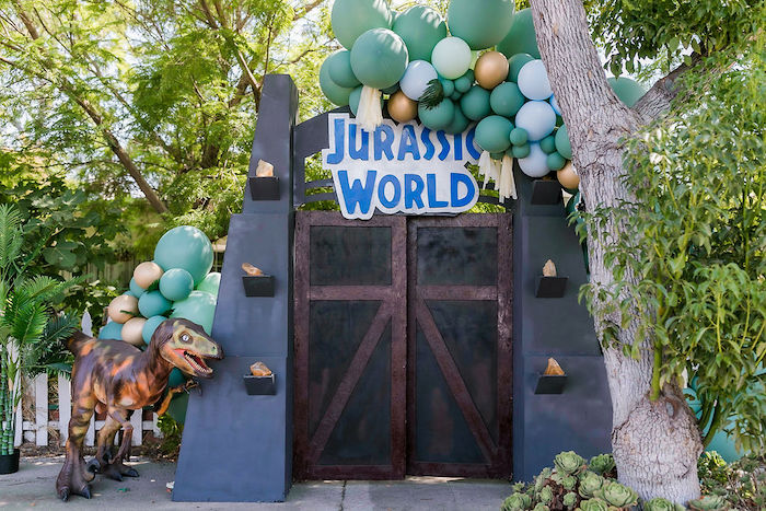 Jurassic World Gate Backdrop from a Rawrsome Dinosaur Drive-By Birthday Parade on Kara's Party Ideas | KarasPartyIdeas.com (26)