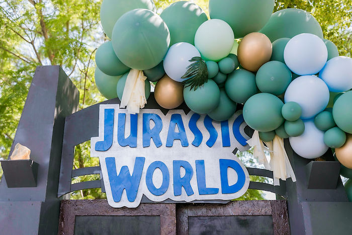 Jurassic World Balloon Sign from a Rawrsome Dinosaur Drive-By Birthday Parade on Kara's Party Ideas | KarasPartyIdeas.com (25)
