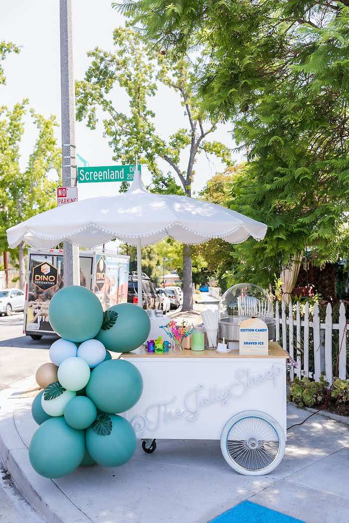 Cotton Candy Cart from a Rawrsome Dinosaur Drive-By Birthday Parade on Kara's Party Ideas | KarasPartyIdeas.com (23)