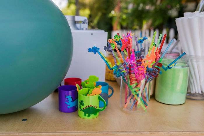 Dino Cups & Straws from a Rawrsome Dinosaur Drive-By Birthday Parade on Kara's Party Ideas | KarasPartyIdeas.com (21)